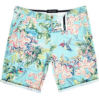 River Island MensLight blue bird print shorts