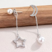 Elegant Silver Moon Star Eardrop Asymmetrical Pearl Earrings Stud