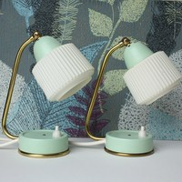 Mint Green Mid Century Modern Accent Table Lamps. T02Y • project sarafan