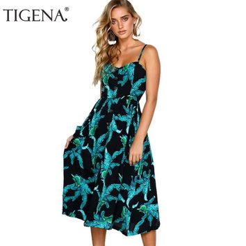 TIGENA Sexy Strap Backless Long Summer Dress Women Floral Print Bohemian Beach Midi Dress and Sundress Women Robe Femme