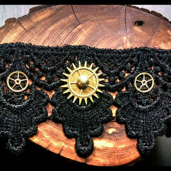RTS Handmade Steampunk Choker Bronze & Gold Gear Trio Watch Dial on Black Lace Handcrafted Necklace Gothic Victorian Cog Jewelry Custom