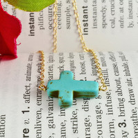Turquoise Sideways Cross Necklace, 14K Gold Filled Chain, Delicate, Simple, Lovely Necklace