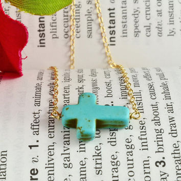Turquoise Sideways Cross Necklace, 14K Gold Filled Chain, Simple, Delicate, Pretty
