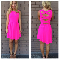 Hot Pink Criss Cross Back Dress
