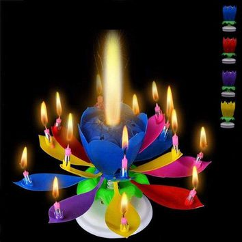 Rotate Candles Music Birthday Party Weddings 2 Layers Lotus Blossom Flower Light