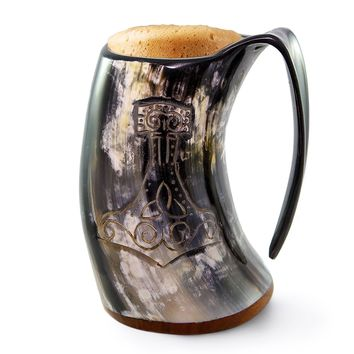 "Viking Drinking Horn Tankard | ""The Mjolnir"""