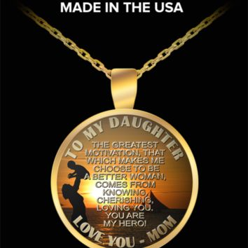 To my daughter, my hero - Love you, mom pendant necklace