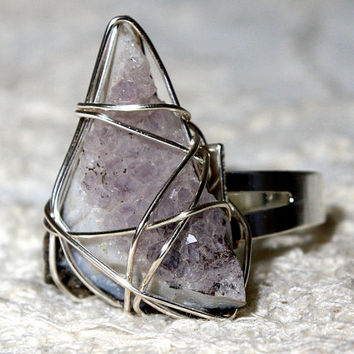 Antique Rock Collection Raw Amethyst Wire Wrapped Ring