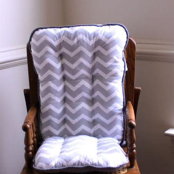 Gray Chevron High Chair Cushions, High Chair Pads, High Chair Cover, Highchair Pads, Wooden Highchair Pads