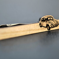 Tie Clip VW Beetle - cypress wood elegant tie bar