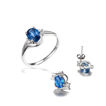 Jewelry Palace 2ct London Blue Topaz Jewelry Sets Engagement Ring Stud Earrings 925 Sterling Silver