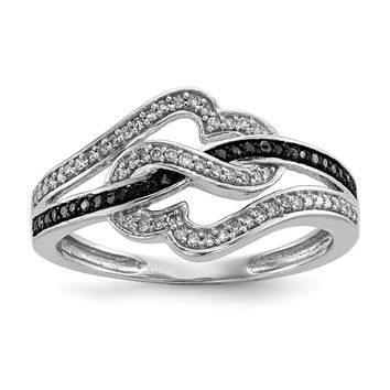 1/4 Ctw Black & White Diamond Twisted Hearts Ring in Sterling Silver