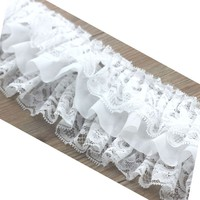 "5 Yards 3-3/4"" Wide Ruffled Lace Pleated Lace Trim for Dress Extender Sewing Accessories 2 Colors for selection (White)"
