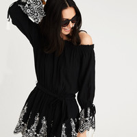 AE OFF-THE-SHOULDER SLIT SLEEVE ROMPER, Black
