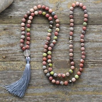 108 Beads Mala Necklace 8MM Natural Stone with Antique Charm Long Tassel Necklace Women Lariat Meditation Necklace Dropship