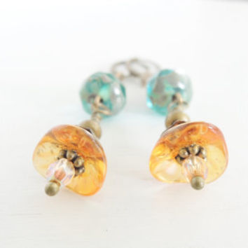Turquoise Orange Wildflower Earrings Orange Gold Poppy Earrings Glass Flower Earrings Bohemian Summer Style Boho Tangerine Turquoise Dangles