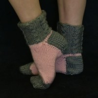 Soft Slippers House Socks Pink Grey Cable Knit