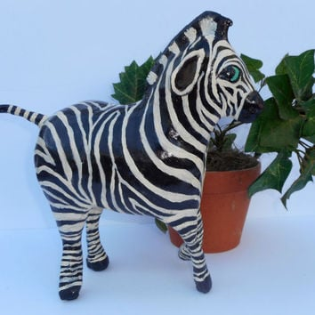 Whimsical Paper Mache Clay Zebra Sculpture - Zumi the Zebra