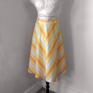 Vintage Yellow Chevron Skirt- Shades of  Sunshine 70's   Bright  Festival Spring Summer knee length size small medium