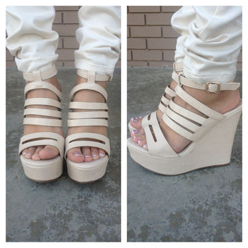 Beige Mikeca High Wedges