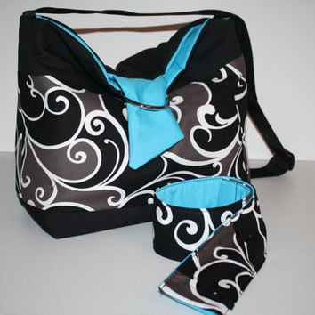 Digital Slr CAMERA  Bag Dslr camera Bag case Lens Purse Womens Hobo and Camera Strap Cover 2 miller swirl aqua  XcessRize Designs