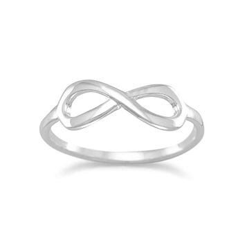 Amanda Rose Polished Sterling Silver Infinity Ring (Available sizes 5-9)