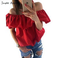 Simplee Apparel Off shoulder cool blouse 2016 Sexy ruffles cotton white blouse Chic short fluffy female blouse corp top blusa