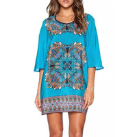 Blue Boho Print Tunic Mini Dress