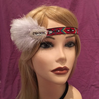 Boho vintage style 20's multi-color native american flapper headband 1920's pale blue feather silver sequin art deco ivory satin (671)