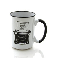 Ron Swanson mug, typewriter, Parks and Recreation, large 15 oz mug, Parks and Rec, every word I know