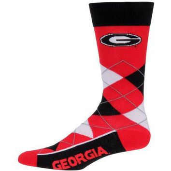 ESBON NCAA Georgia Bulldogs For Bare Feet Argyle Crew Socks