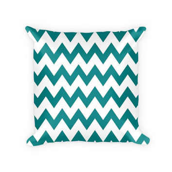 Chevron Large Pattern Cotton Poly Throw Pillow