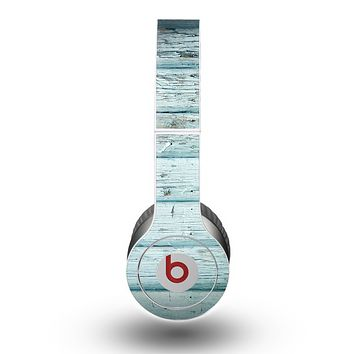 The Subtle Blue Vertical Aged Wood Skin for the Beats by Dre Original Solo-Solo HD Headphones