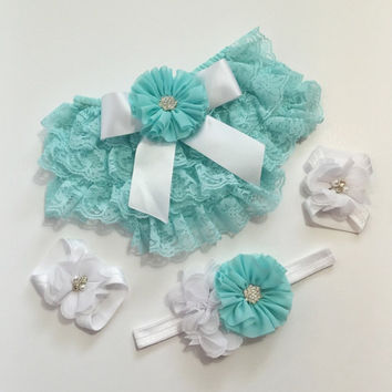 Lace Ruffle Diaper Cover SET - Baby Bloomers Headband Sandals, Cake Smash Photo Outfit, Bloomers, Diaper Cover, Baby Girl Cloths, Birthday