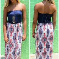 Summer Daze Abstract Printed Navy Tube Top Maxi Dress