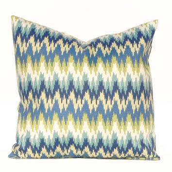 Flamestitch Pillow Cover - Chevron Pillow Covers - Blue Pillow Covers - Blue Chevron Cushion Covers - Blue, Aqua Pillows