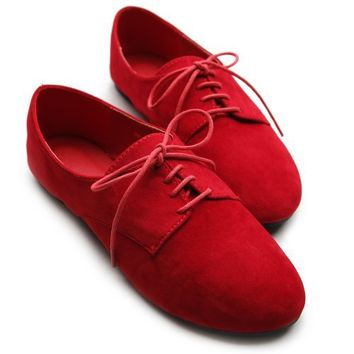 Ollio Women's Ballet?Flat Shoe Faux Suede Lace Up Oxford(9 B(M) US, Red)