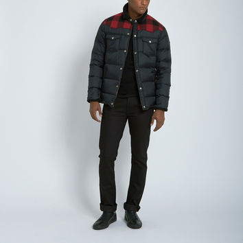 Penfield Rockford Plaid Yoke Down Jacket in Black