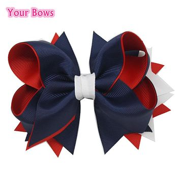 5 Inches Girls Hair Bow 4th Of July