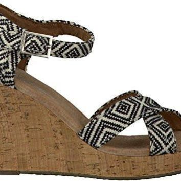 TOMS Women's Strappy Wedge Canvas Sandal