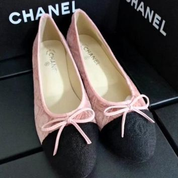 CHANEL Bow Women Fashion Loafer Flats Shoes6