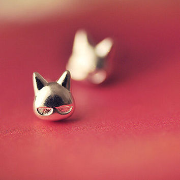 Cute Cat Stud Earrings, Sterling Silver Cat Earrings, Animal stud earrings,Animal earrings,Gift for her,cat jewelry,cat face earrings