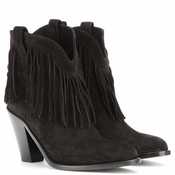 New Western fringed suede leather ankle boots