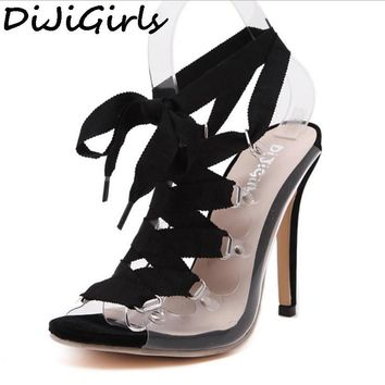 Women PVC Clear Transparent Sandals Gladiator Roman Lace Up Peep Toe Women Pumps High