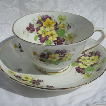 Vintage Tuscan Fine Bone China Tea Cup with Purple and Yellow Violets and Gold Trim Made in England