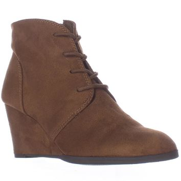 AR35 Baylie Lace Up Wedge Booties, Chestnut, 10.5 US