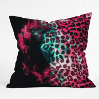 Caleb Troy Leopard Storm Pink Throw Pillow