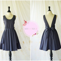 A Party V Charming Dress Prom Party Dress Charcoal Gray Cocktail Dress Backless V Straps Dress Wedding Bridesmaid Dress Custom Made XS-XL