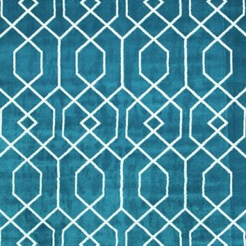 2355 Turquoise Moroccan Toscana Trellis Area Rugs