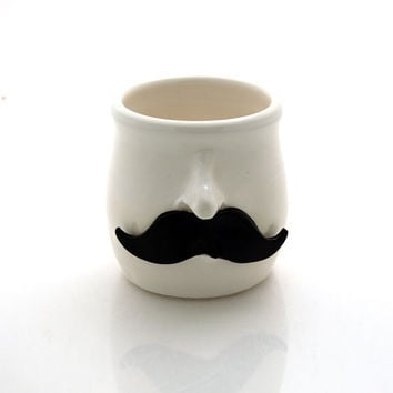 Mustache pencil cup, moustache pencil cup, brush holder, planter, what not pot, funny gift